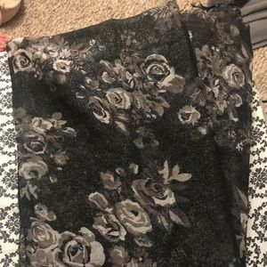 Shiny Black Floral Scarf